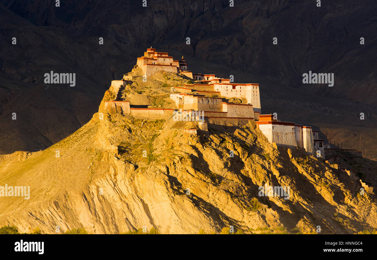 Jiangzi Old Castle of Shigatse Region in Tibet - Stock Image