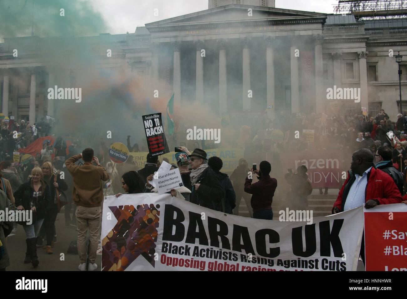 UK Black Lives Matter Activists at the Stand Up To Racism Protest in Trafalgar Square, London Stock Photo