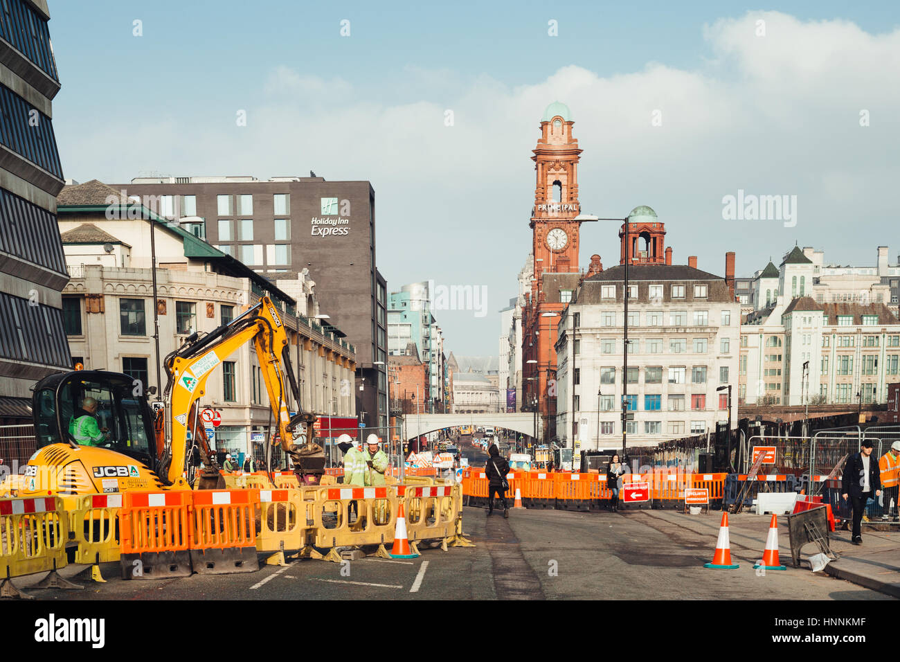 roadworks in Manchester Oxford Road - Stock Image
