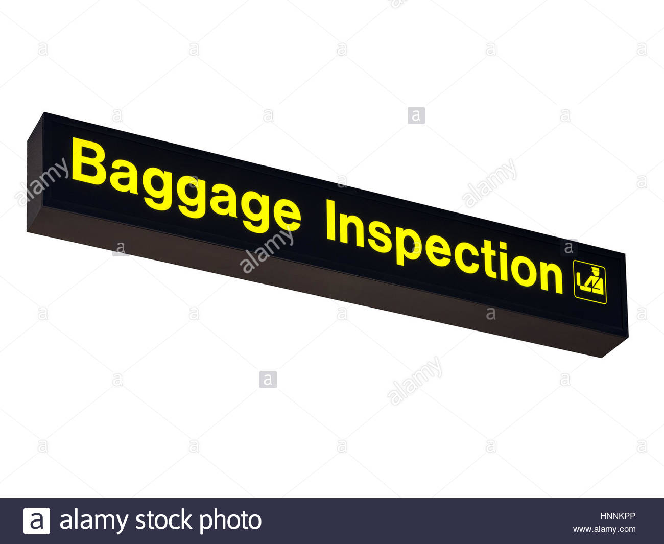Airport departures Baggage Inspection Sign on White Background - Stock Image