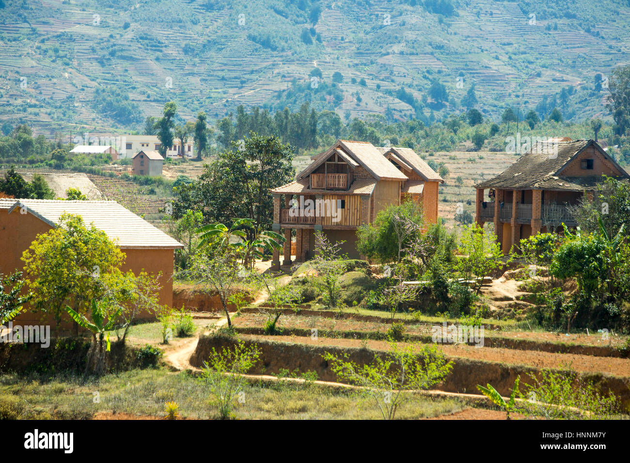 Trano gasy brick houses in rural areas in madagascar