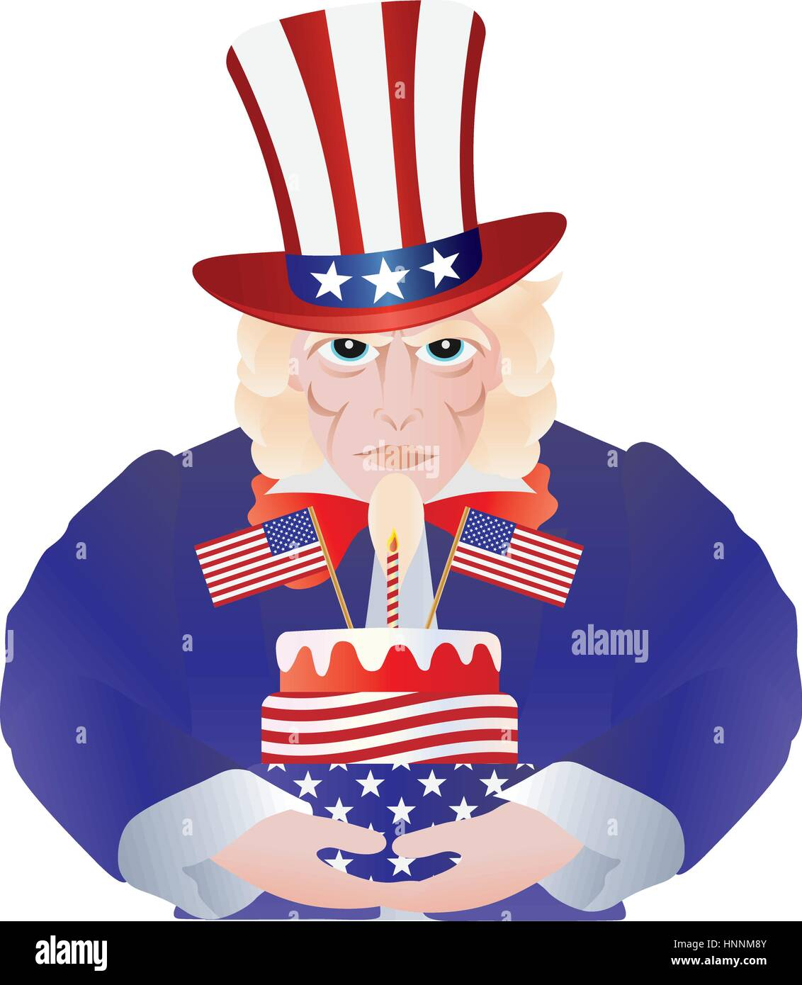 Uncle Sam With Fourth Of July Birthday Cake For Independence Day