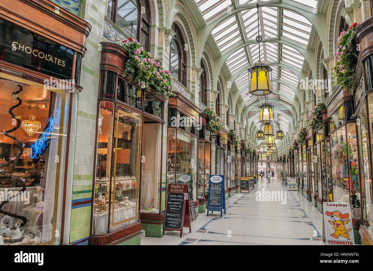 Norwich Royal Arcade that runs from the market place towards the Castle and was designed by architect George Skipper - Stock Image