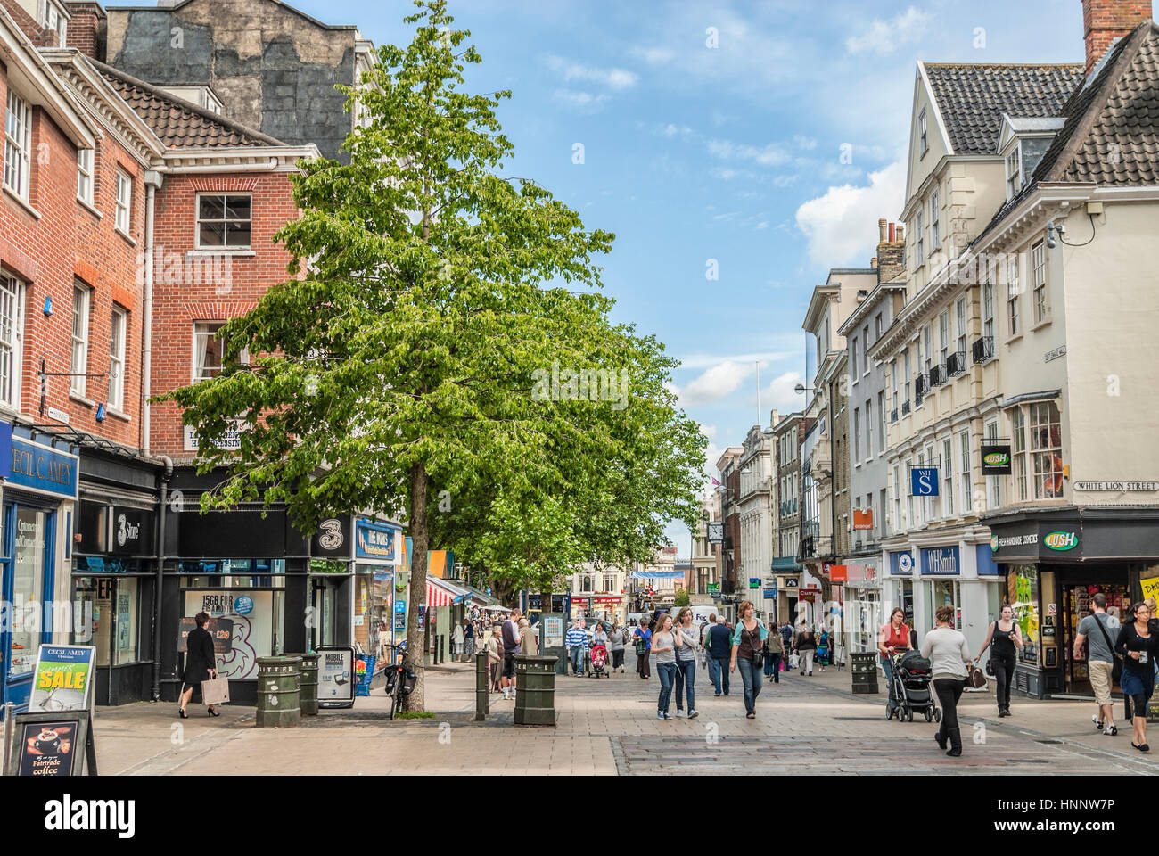 Busy Shopping Street in the town centre of Norwich in Norfolk, England, UK.    Einkaufsstrasse in der Innenstadt - Stock Image