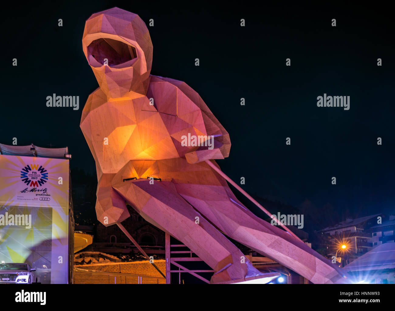 Giant wooden skier named Edy, on display during the 2017 FIS Alpine World Championships in St.Moritz, Switzerland - Stock Image