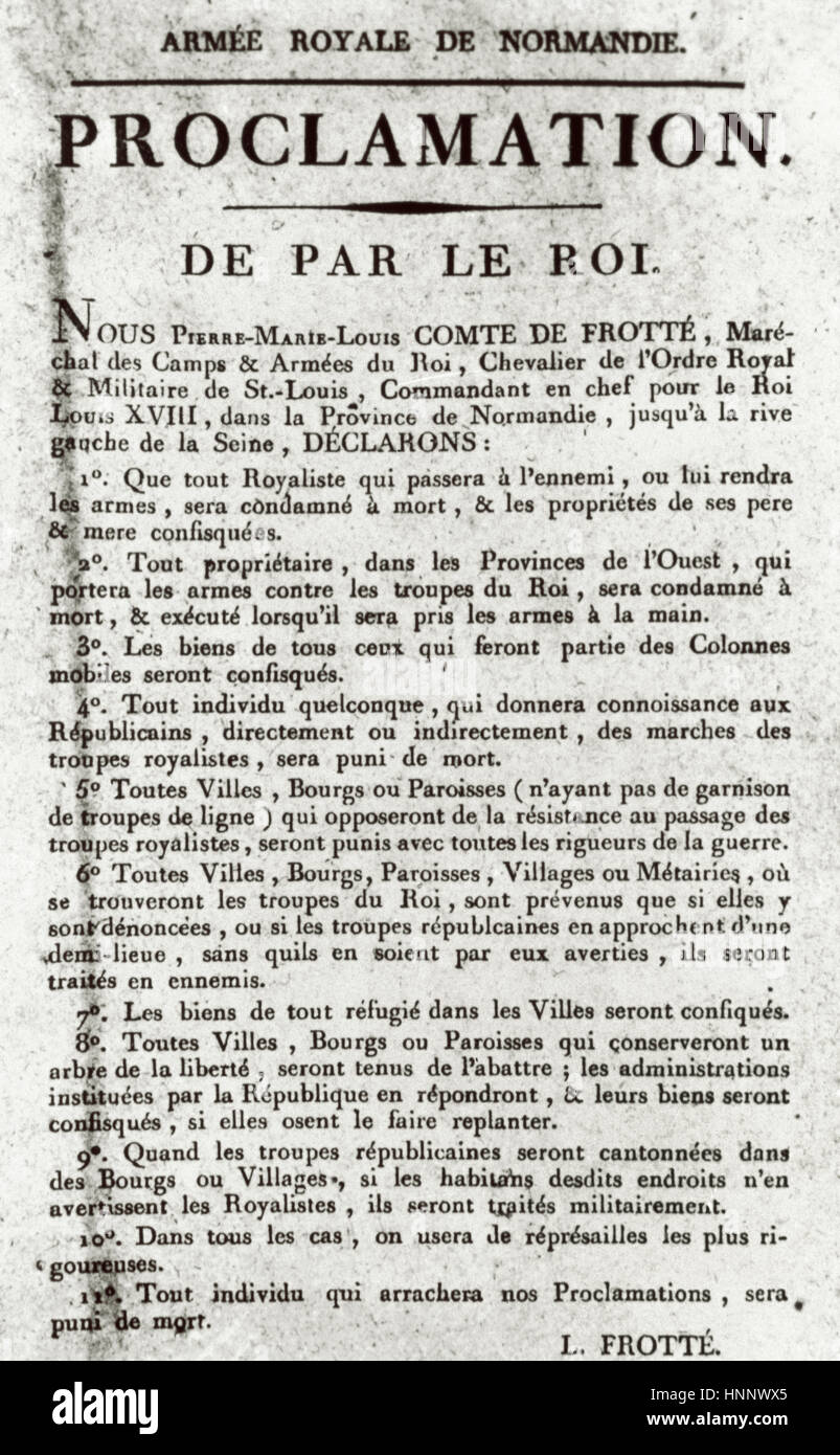 France. French Revolution. Proclamation made by King Louis XVIII, 1793. Exile. Document signed by Pierre-Marie-Louis, - Stock Image