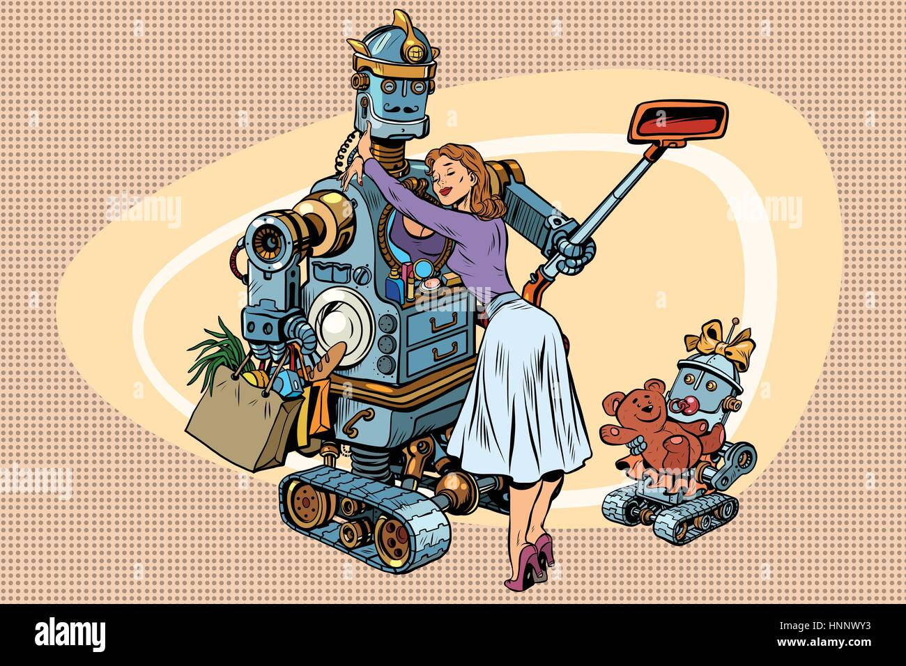 American Dad Wife vintage retro family, dad robot, wife and child. vintage pop