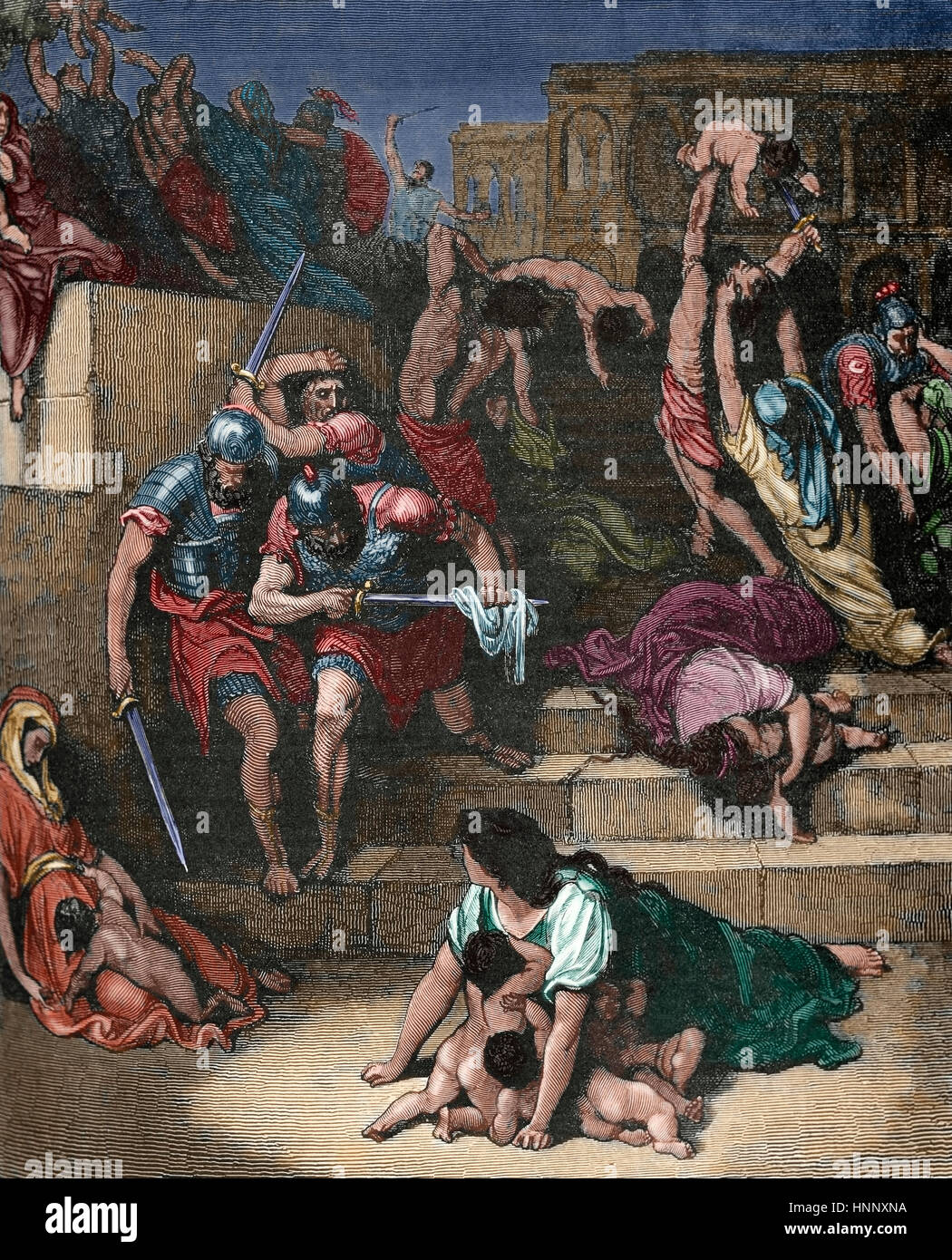 Massacre of the Innocents. Illustration by Gustave Dore (1832-1883). Colored engraving. Stock Photo