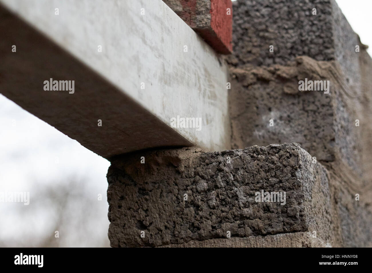 concrete lintel over door access in house extension - Stock Image