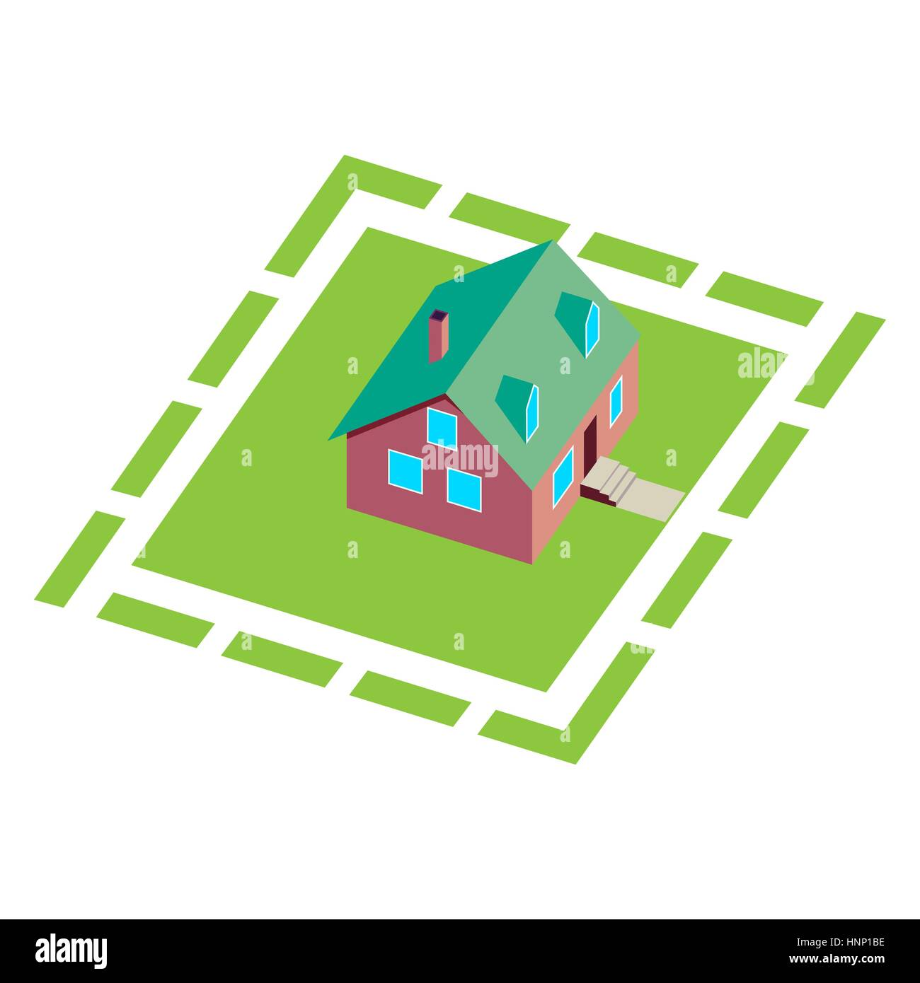 Cottage, small wooden house for real estate brochures or web icon. With yard, green grass. Isometric Vector - Stock Image