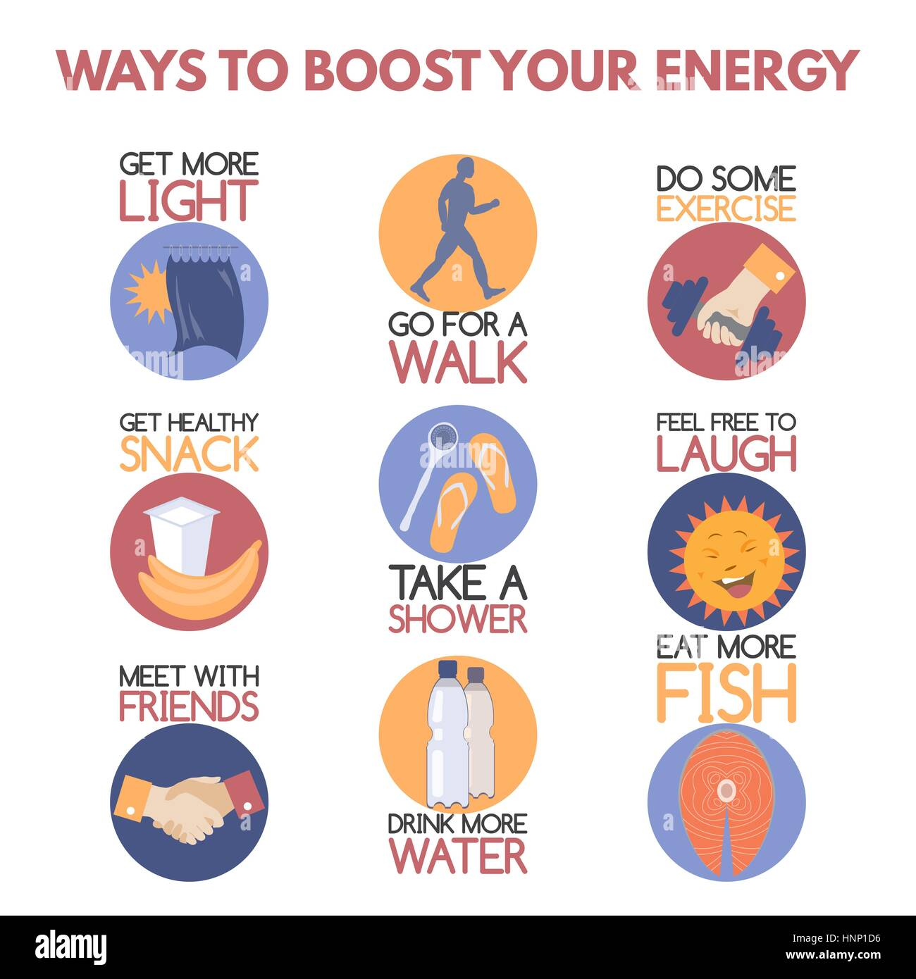 Modern flat style infographic on boosting your energy.  - Stock Image