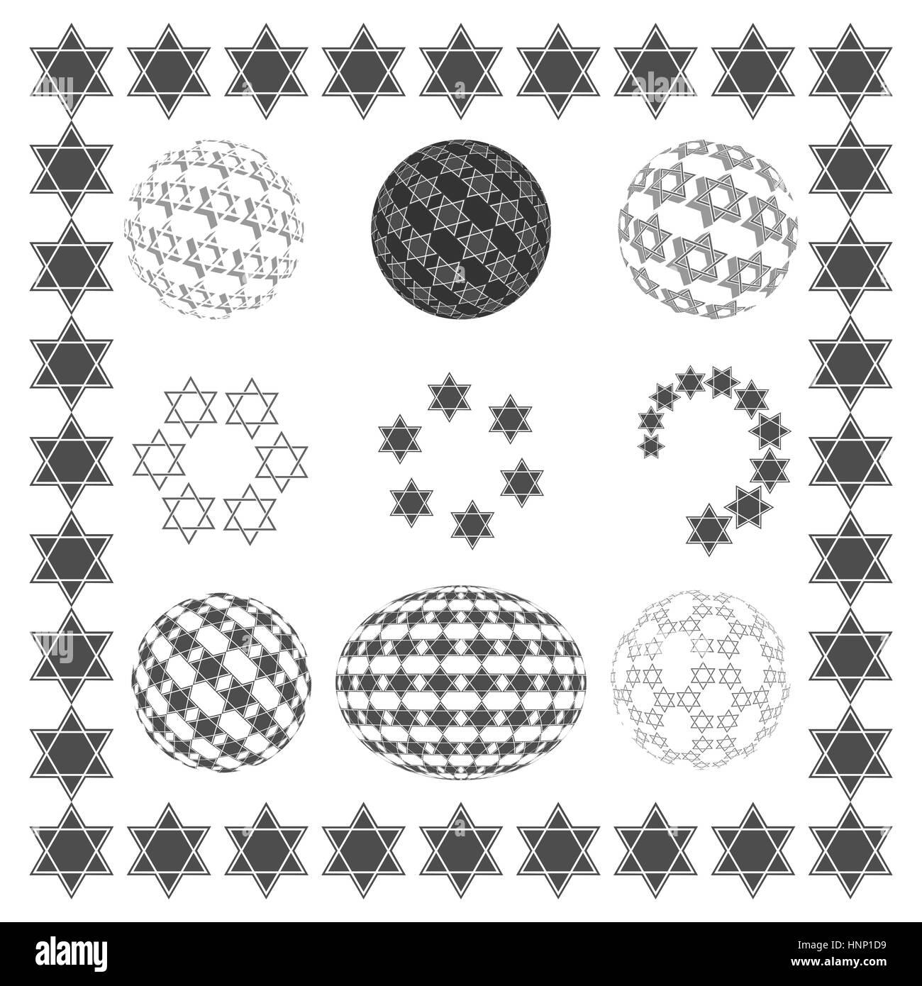 Set round sphere with black Star of David, Jewish religious symbols. - Stock Image