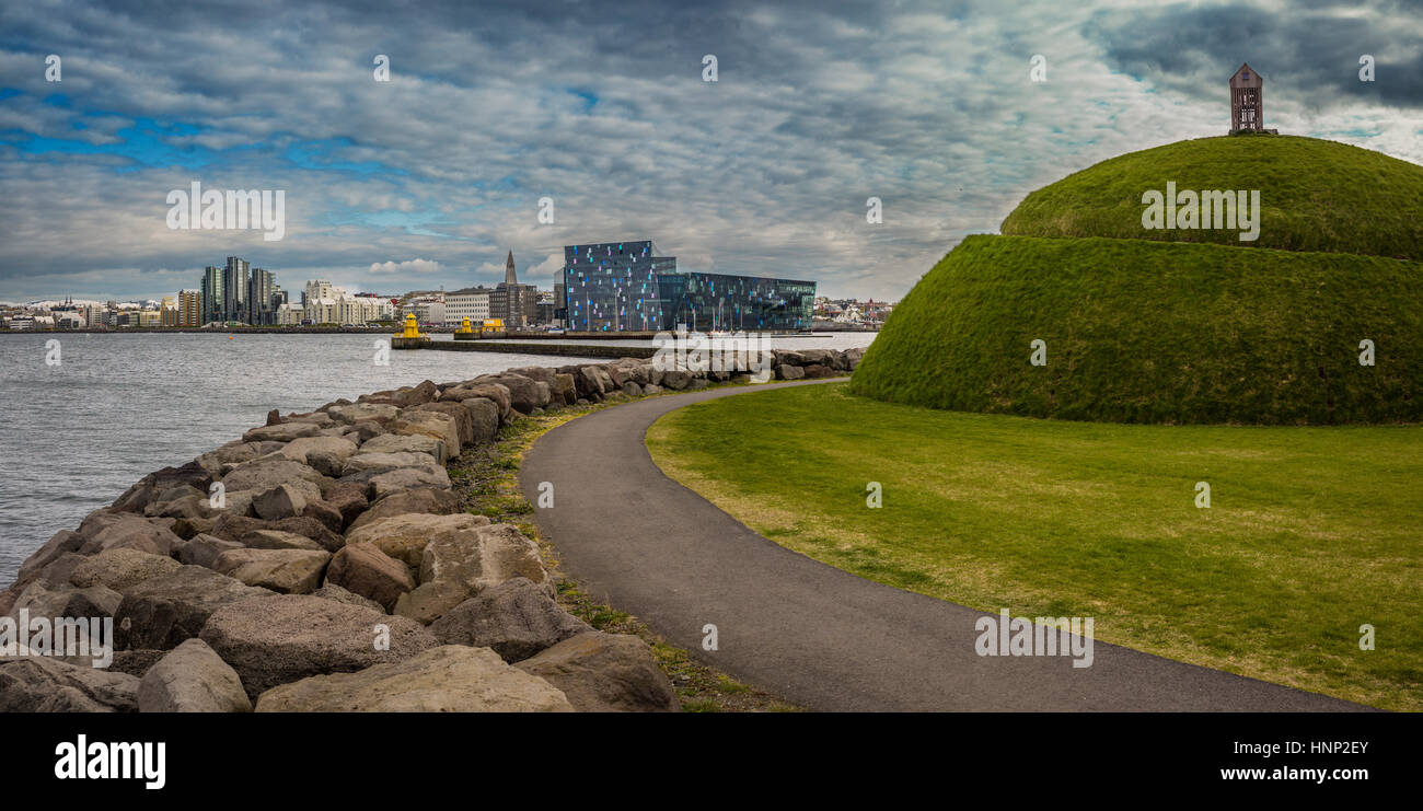 Landscape sculpture named The Hill. Artwork by Olof Nordal, located at Reykjavík's old harbour, Iceland - Stock Image
