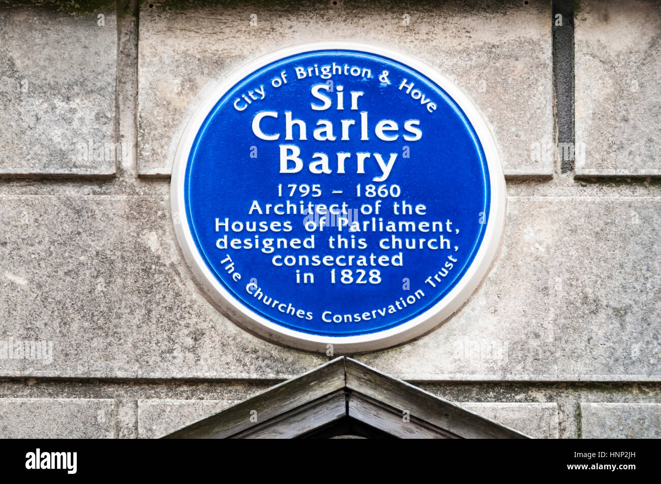 Sir Charles Barry is commemorated by a blue plaque on St Andrews church in Brighton which he designed and which - Stock Image