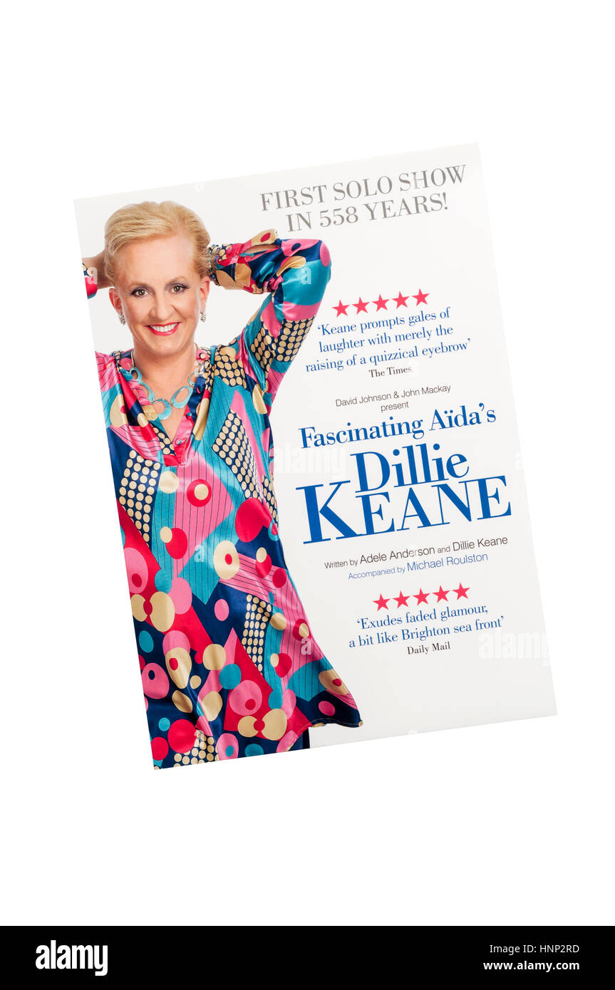 Promotional flyer for 2017 first solo show in 558 years by Fascinating Aida's Dillie Keane. - Stock Image