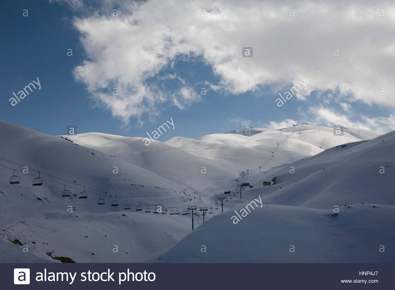 The wealthy Lebanese party scene and ski resort of Faraya near Beirut. - Stock Image