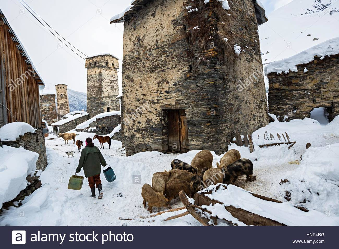 Centuries old towers are used to store hay and grain for livestock. Stock Photo