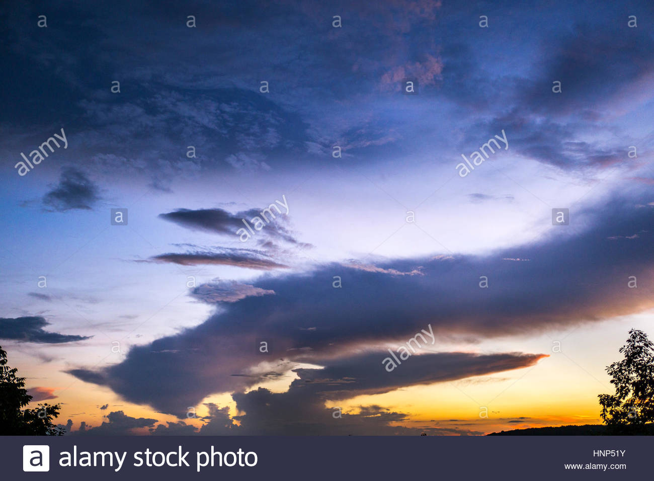 The conclusion of an extraordinary sunset at Morgans Steep. - Stock Image