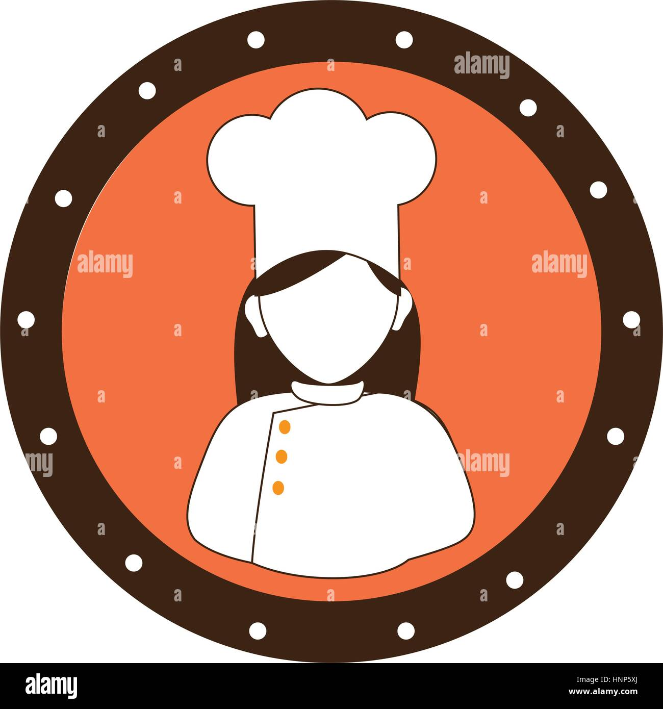 circular border silhouette woman chef vector illustration Stock ... 08ced12f7000