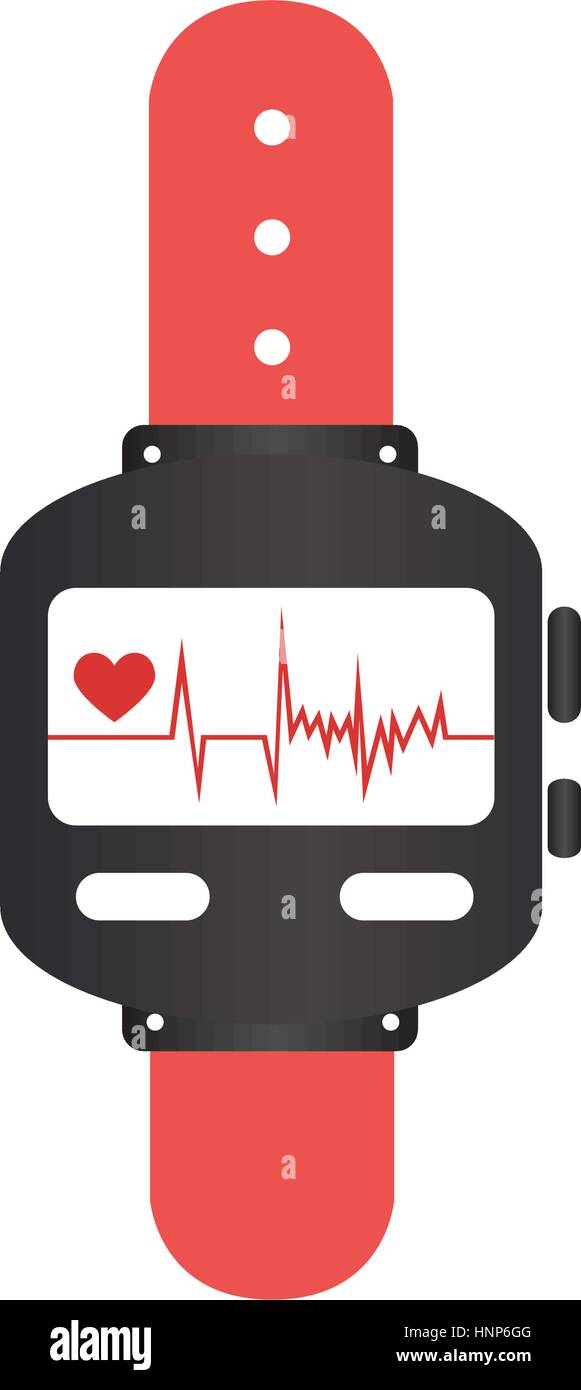 colorful watch with screen Heartbeat monitoring vector illustration Stock Vector
