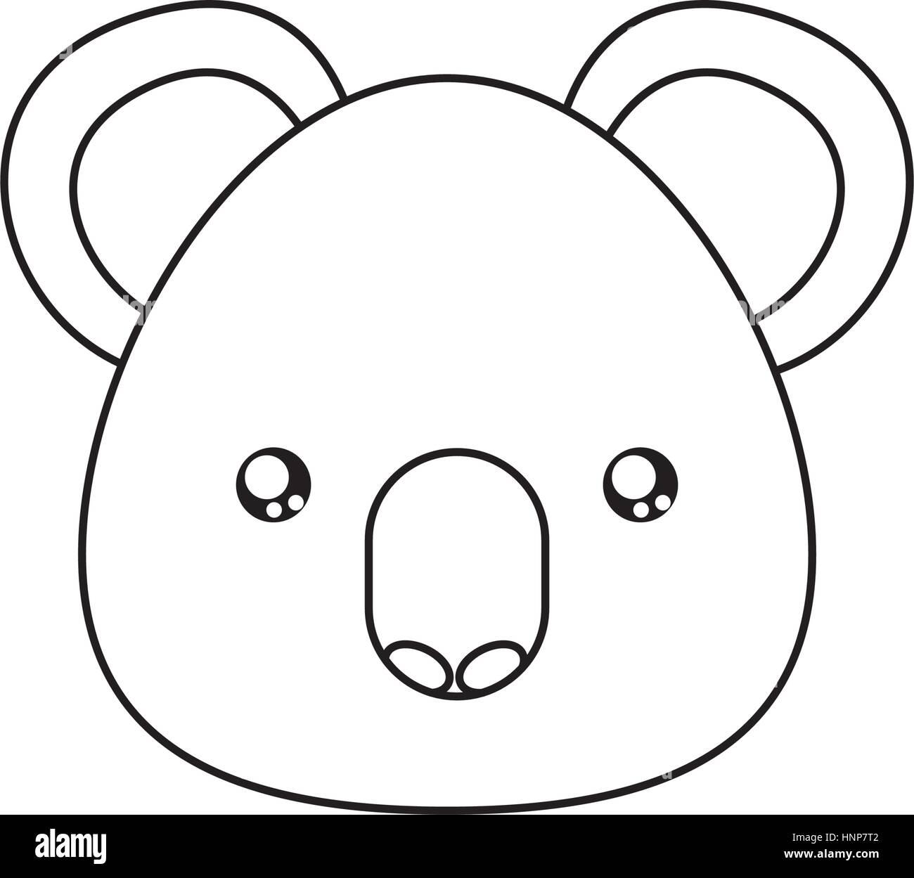 koala Drawing Face - Stock Vector
