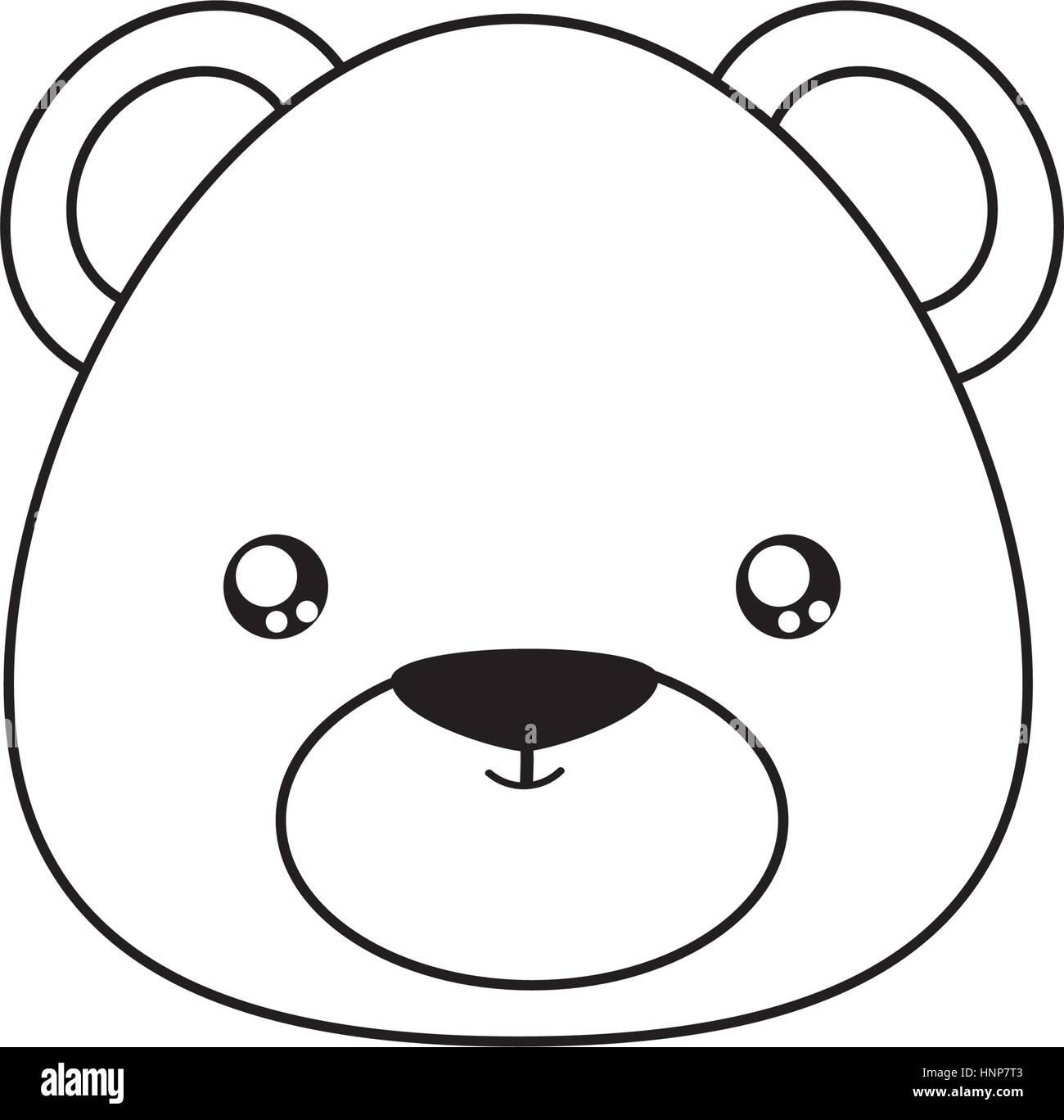 bear Drawing Face - Stock Vector