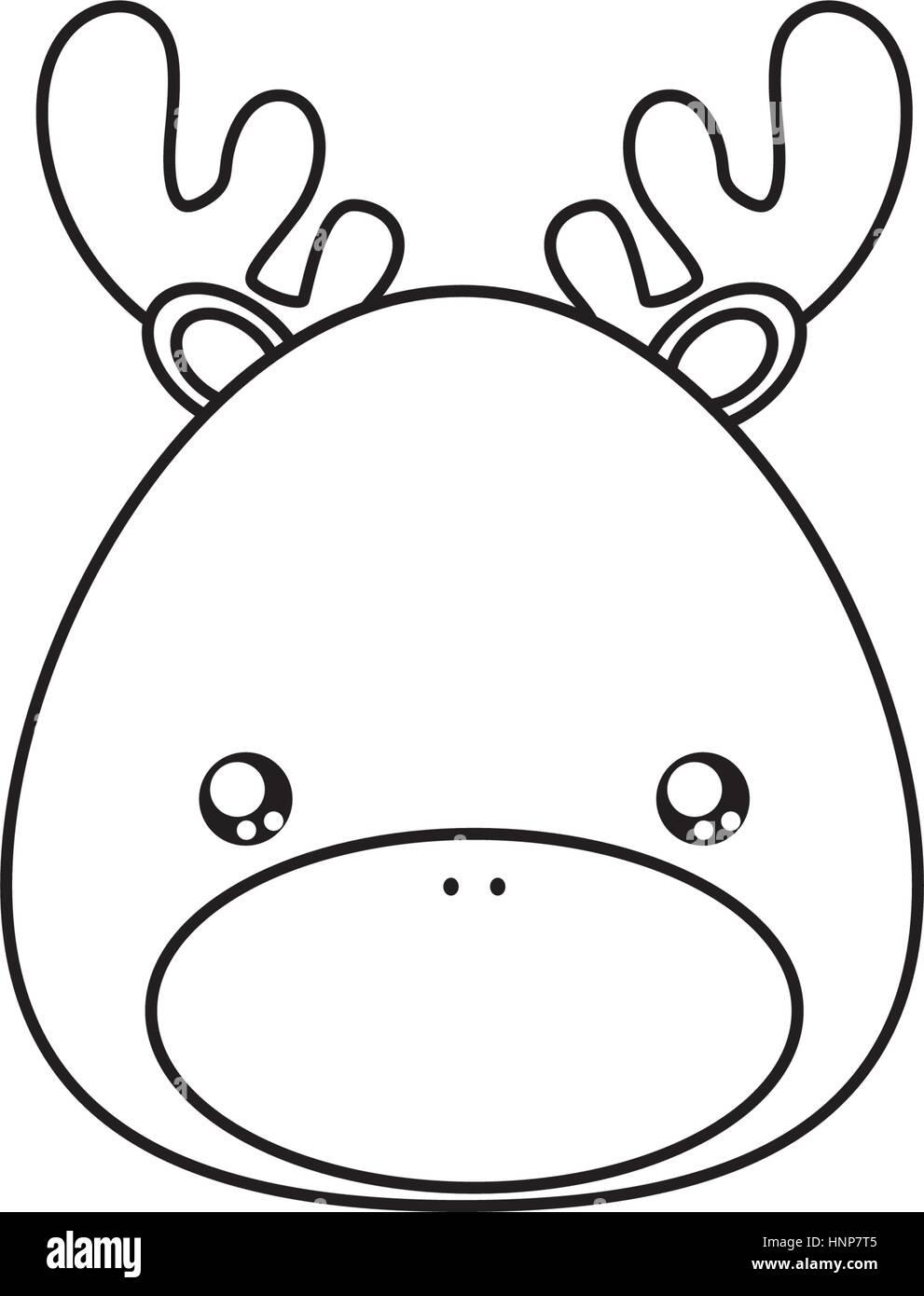 deer Drawing Face - Stock Vector