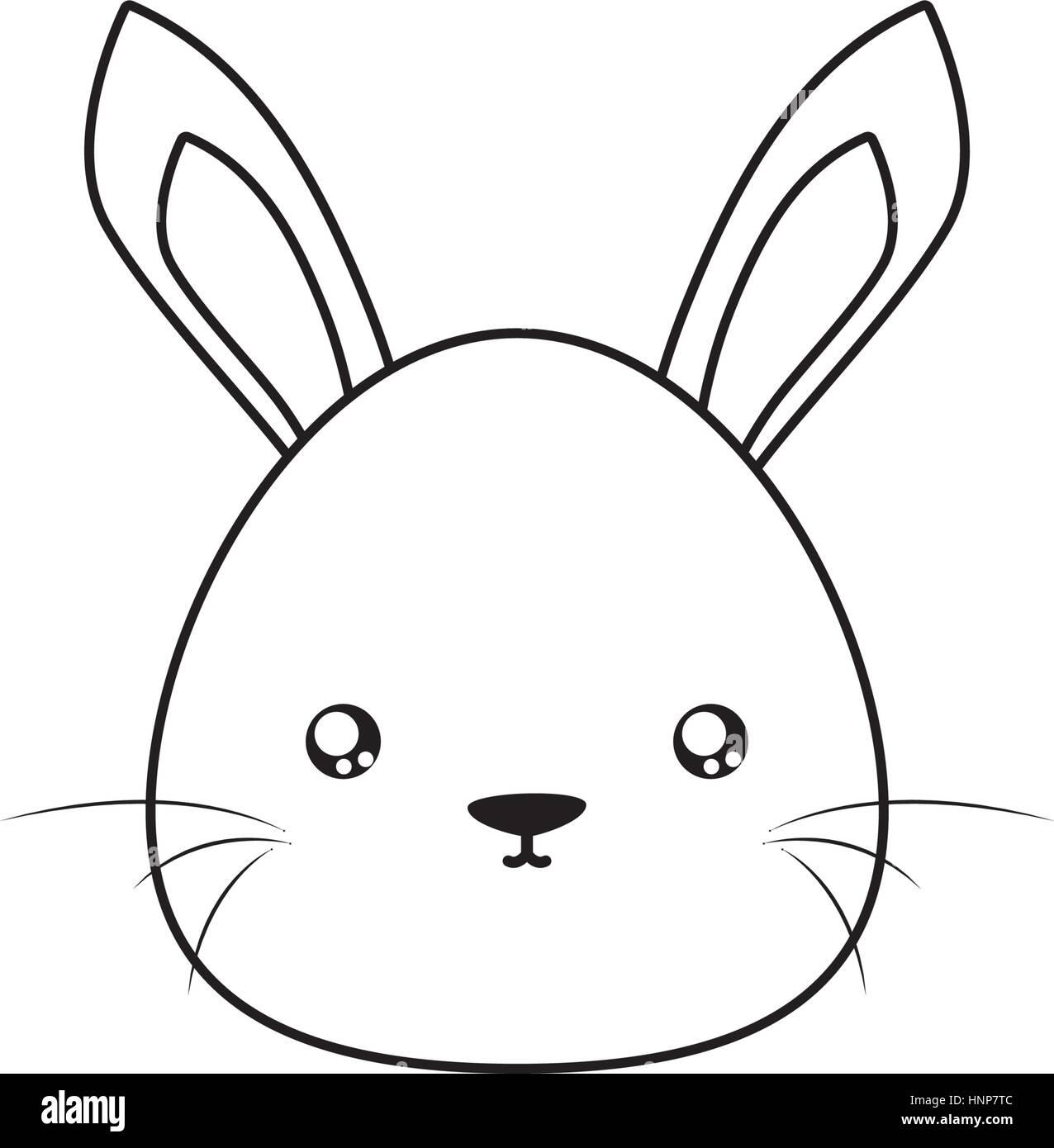 rabbit Drawing Face - Stock Vector