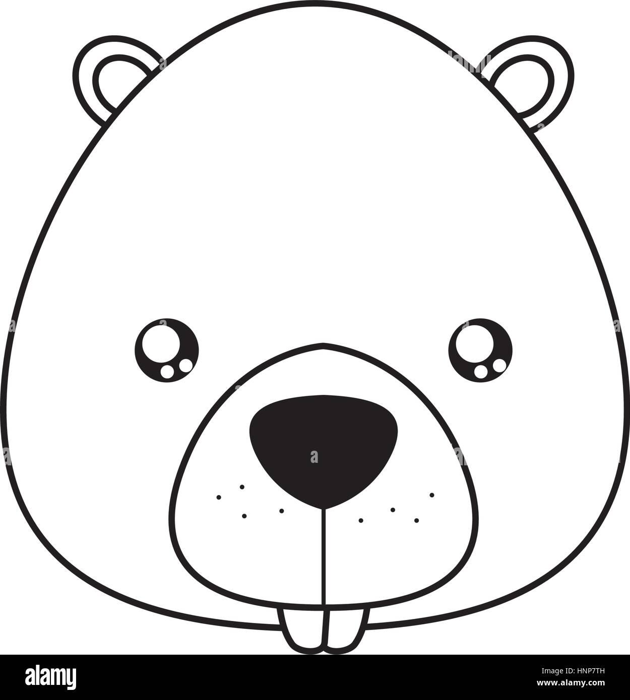 beaver Drawing Face - Stock Vector