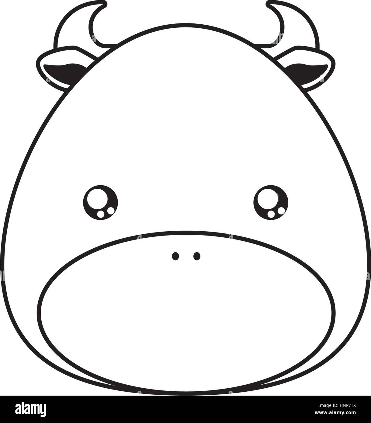 Bull Drawing Face - Stock Vector
