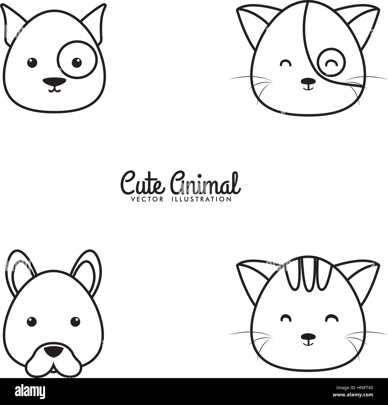 Animals Drawing Face - Stock Vector