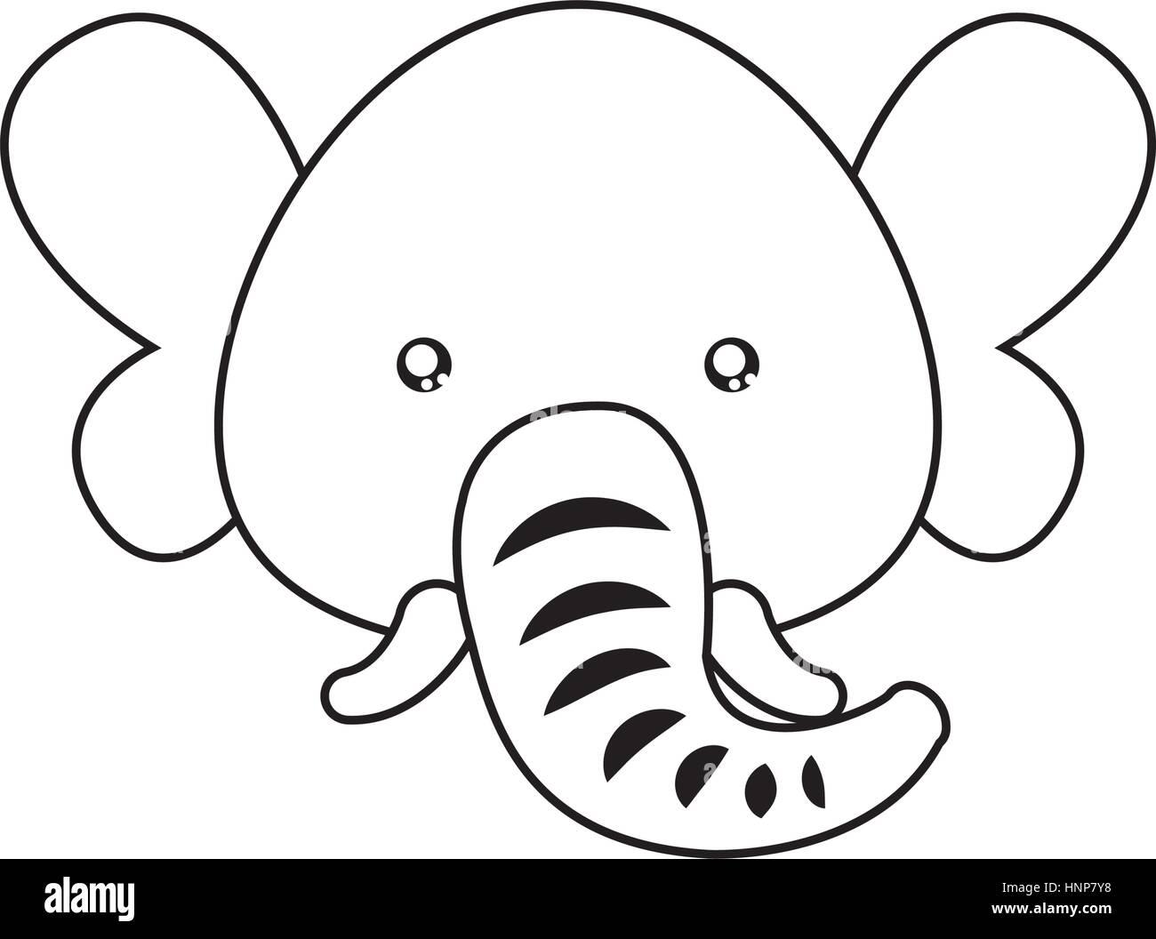 Elephant Drawing Face Stock Vector Art Illustration