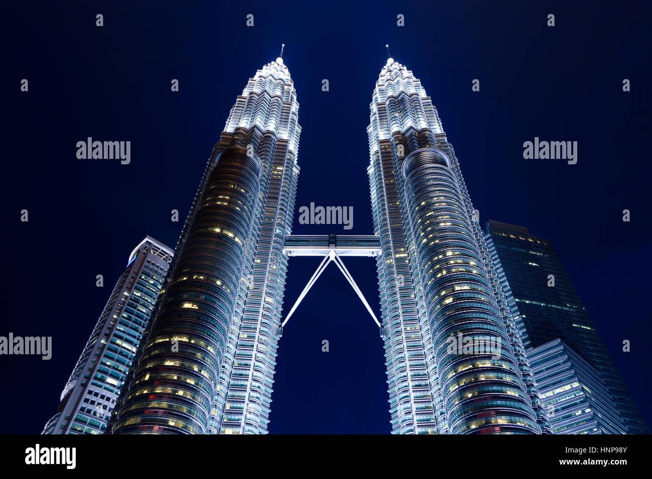 Petronas Twin Towers at night, Kuala Lumpur, Malaysia - Stock Image