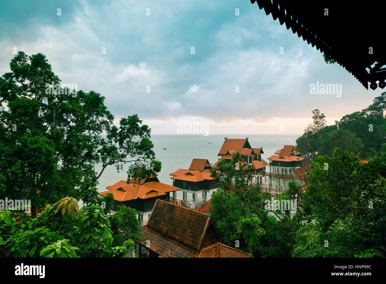 Luxury hotel bungalows on water, Langkawi Island, Malaysia - Stock Image