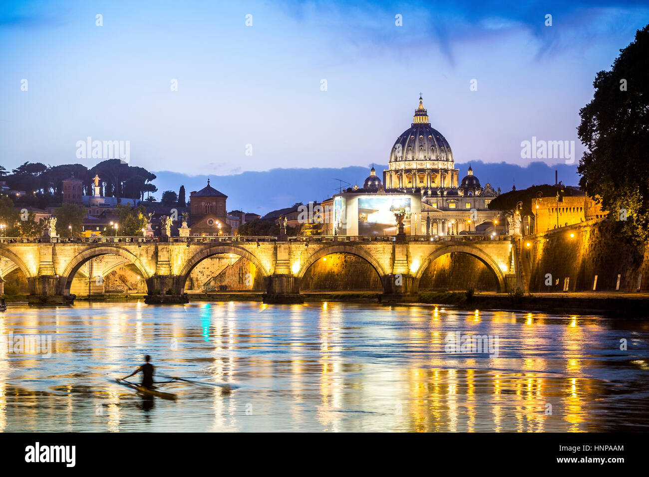 Saint Peter's Basilica with bridge over Tiber, dusk, Vatican City, Rome, Italy - Stock Image
