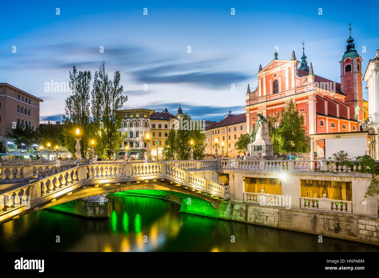 Tromostovje in the city center, Ljubljana, Slovenia - Stock Image