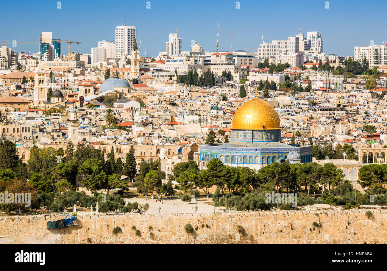 Skyline of the Old City at Temple Mount, Jerusalem, Israel - Stock Image