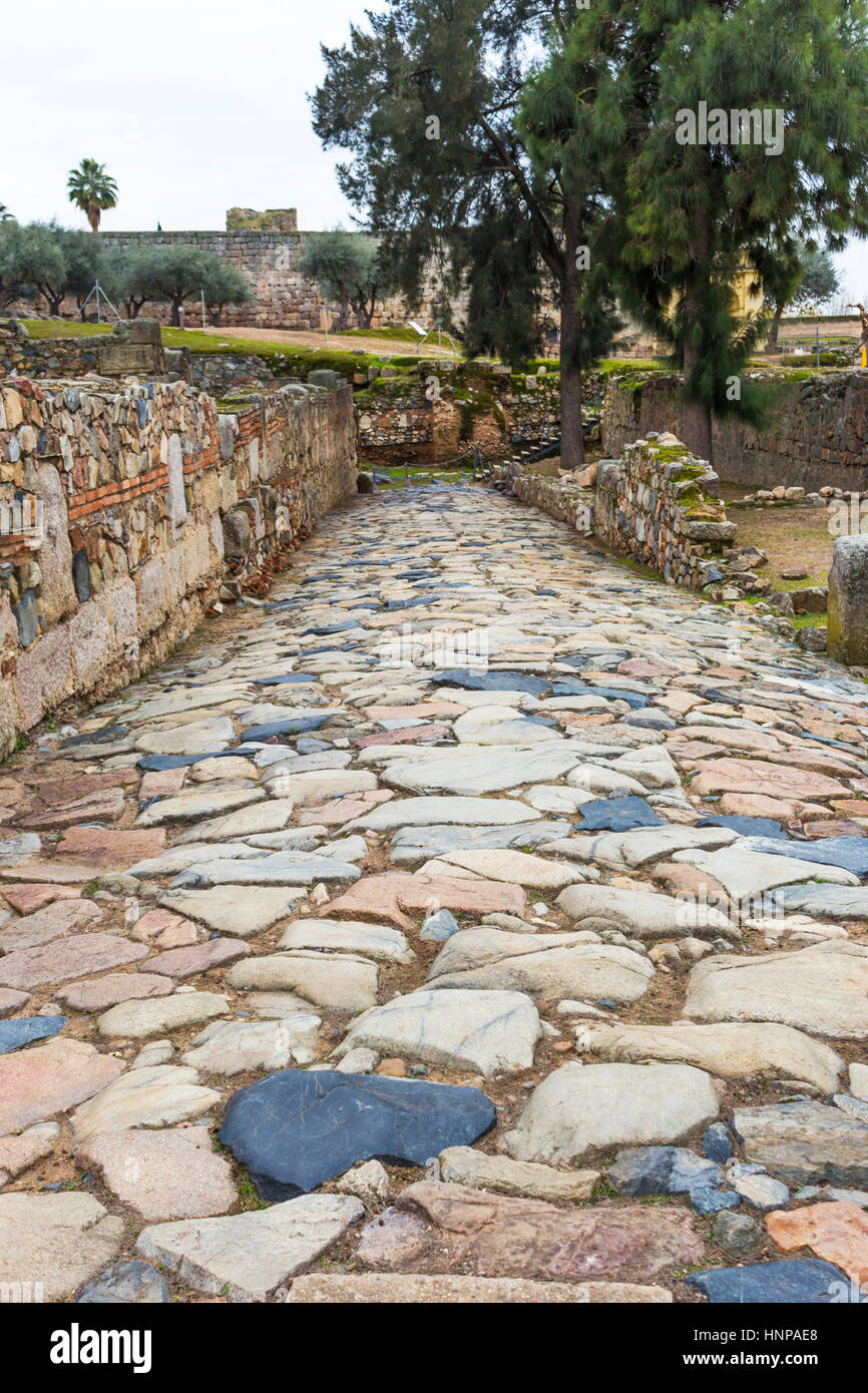 Merida, Badajoz Province, Extremadura, Spain. Part of a Roman road in the Alcazaba, a 9th-century Muslim fortification. - Stock Image