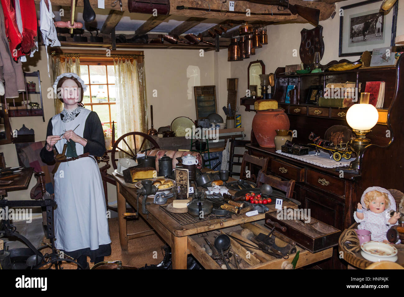 Dent Village Museum and Heritage Centre, Dent, Yorkshire Dales, England. Reconstruction of a 19th century kitchen - Stock Image
