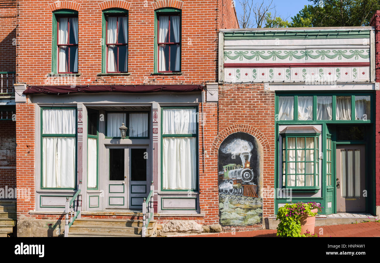 Shop fronts along high street in small rural town on a bright summer day in Blackwater, Missouri, USA. - Stock Image