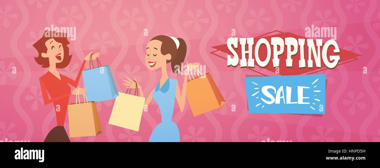 6af9c71c58 Cartoon Woman Group With Shopping Bag Big Sale Banner Stock Vector ...