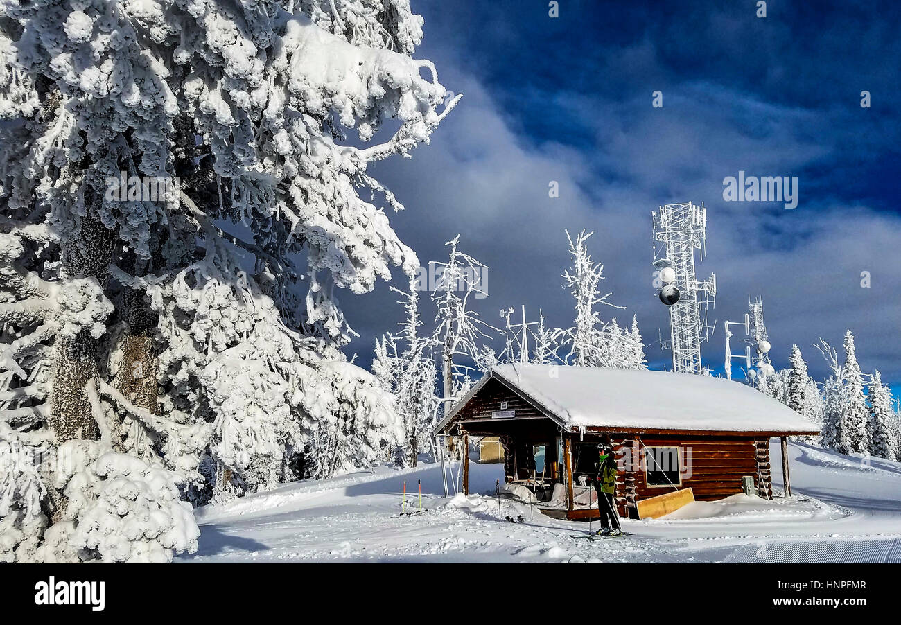skiing brundage mountain near mccall, id, usa. ski patrol cabin