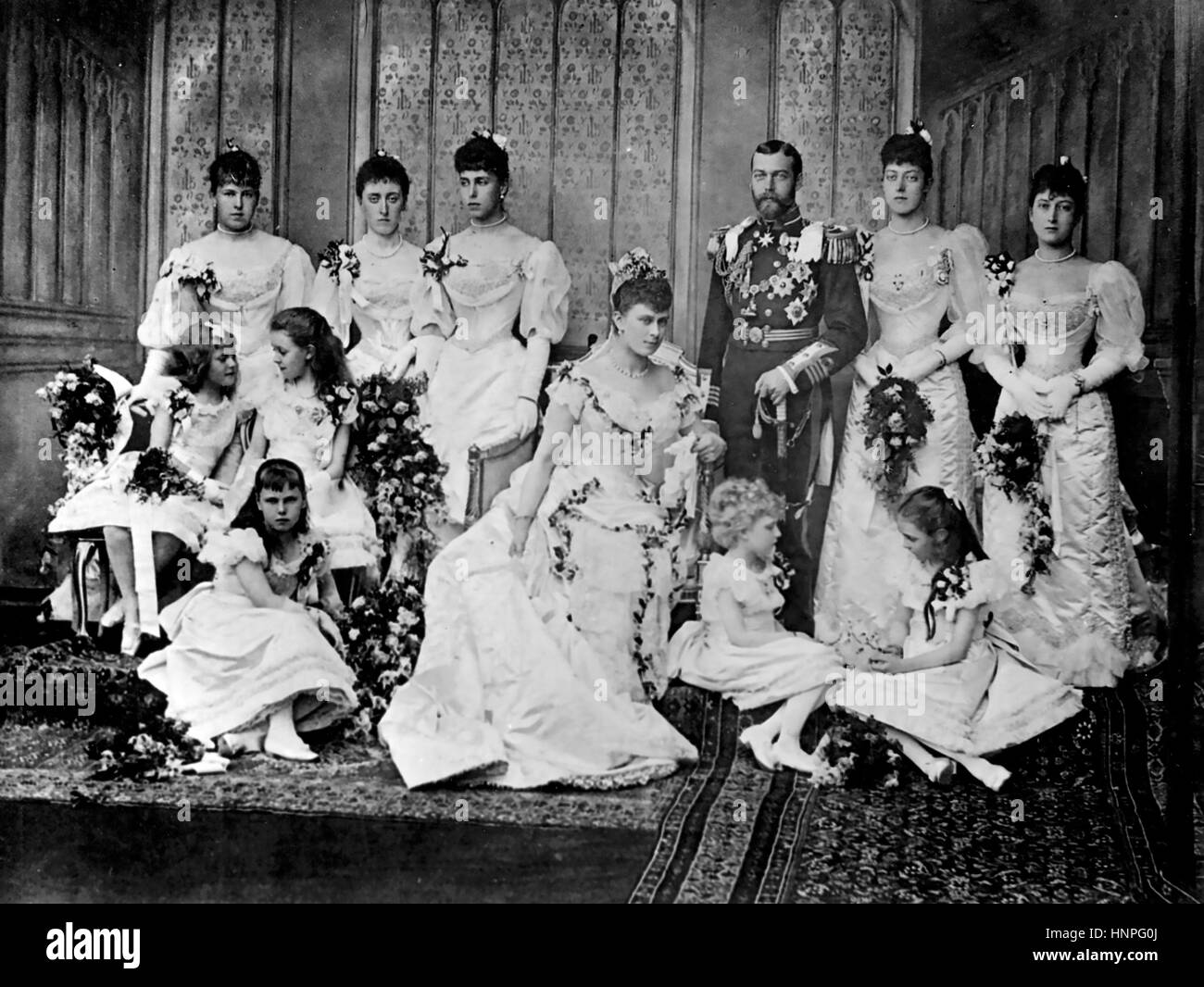 GEORGE V as Duke of York with his new bride Princess Mary of Teck in July 1893 - Stock Image
