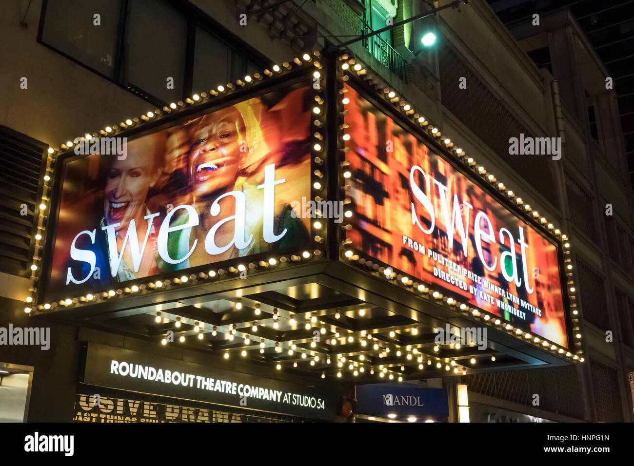 Sweat, drama that moved from Off-Broadway to Broadway - Stock Image