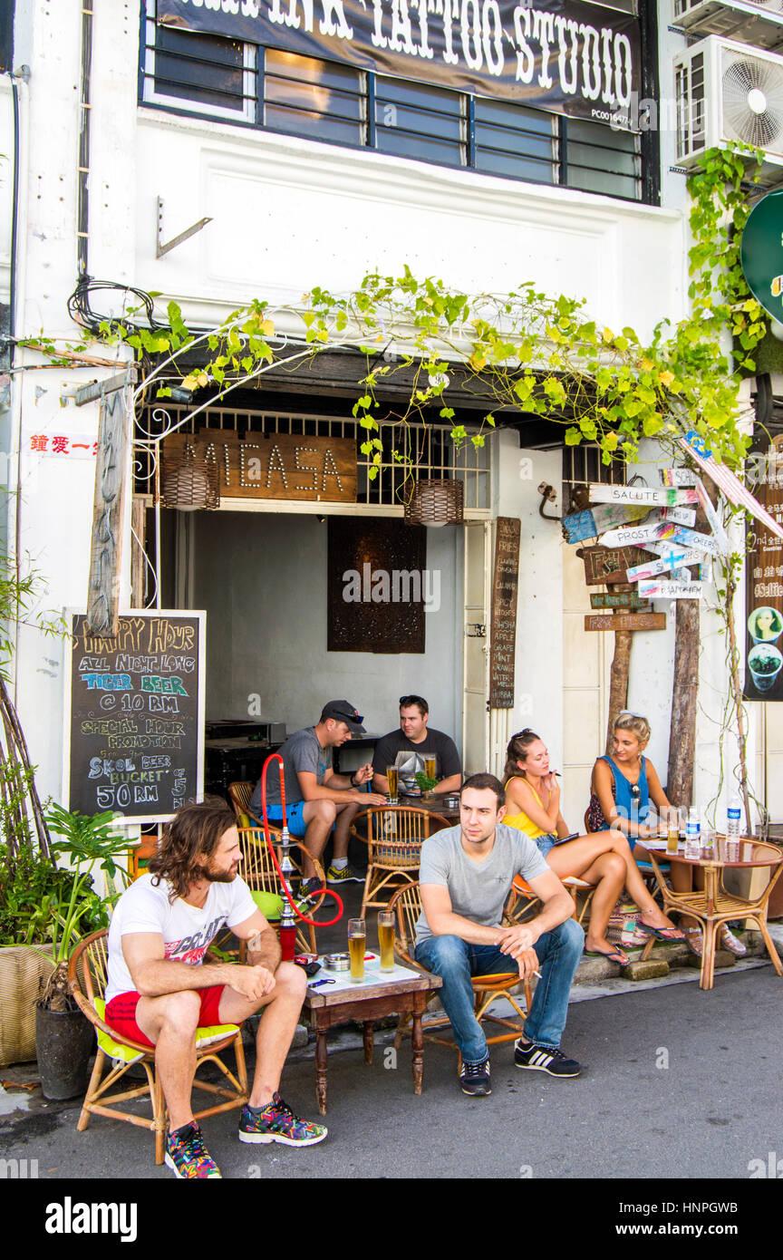 Cafe, Love Lane, Georgetown, Penang, Malaysia - Stock Image