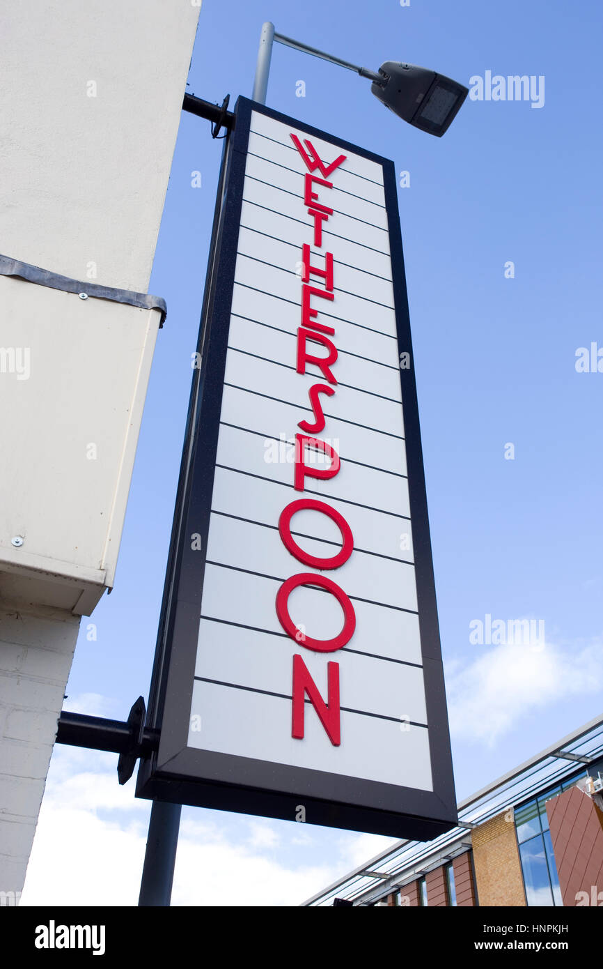 Wetherspoons Pub Sign in Hemel Hempstead UK - Stock Image