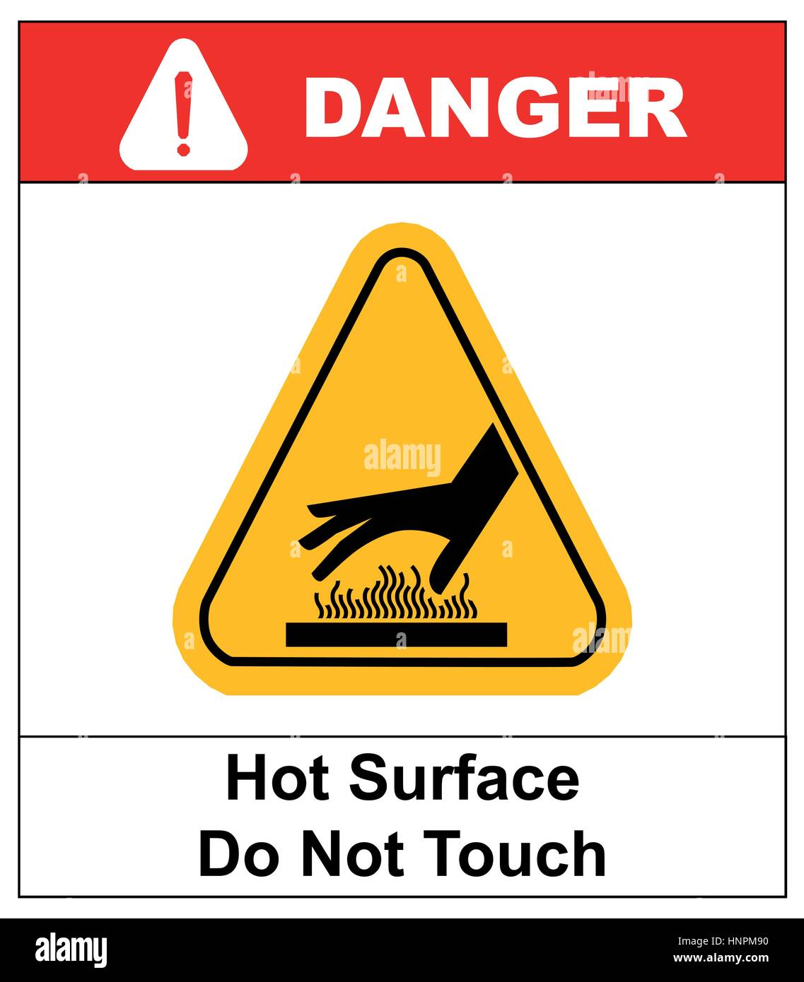 do not touch hot surface danger signs illustration vector informational sticker label vector for public places - Stock Image