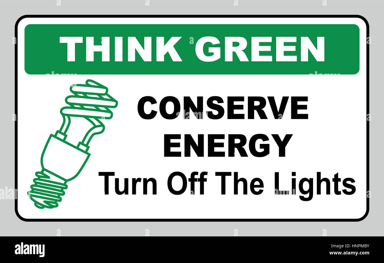 think green conserve energy turn off the lights vector