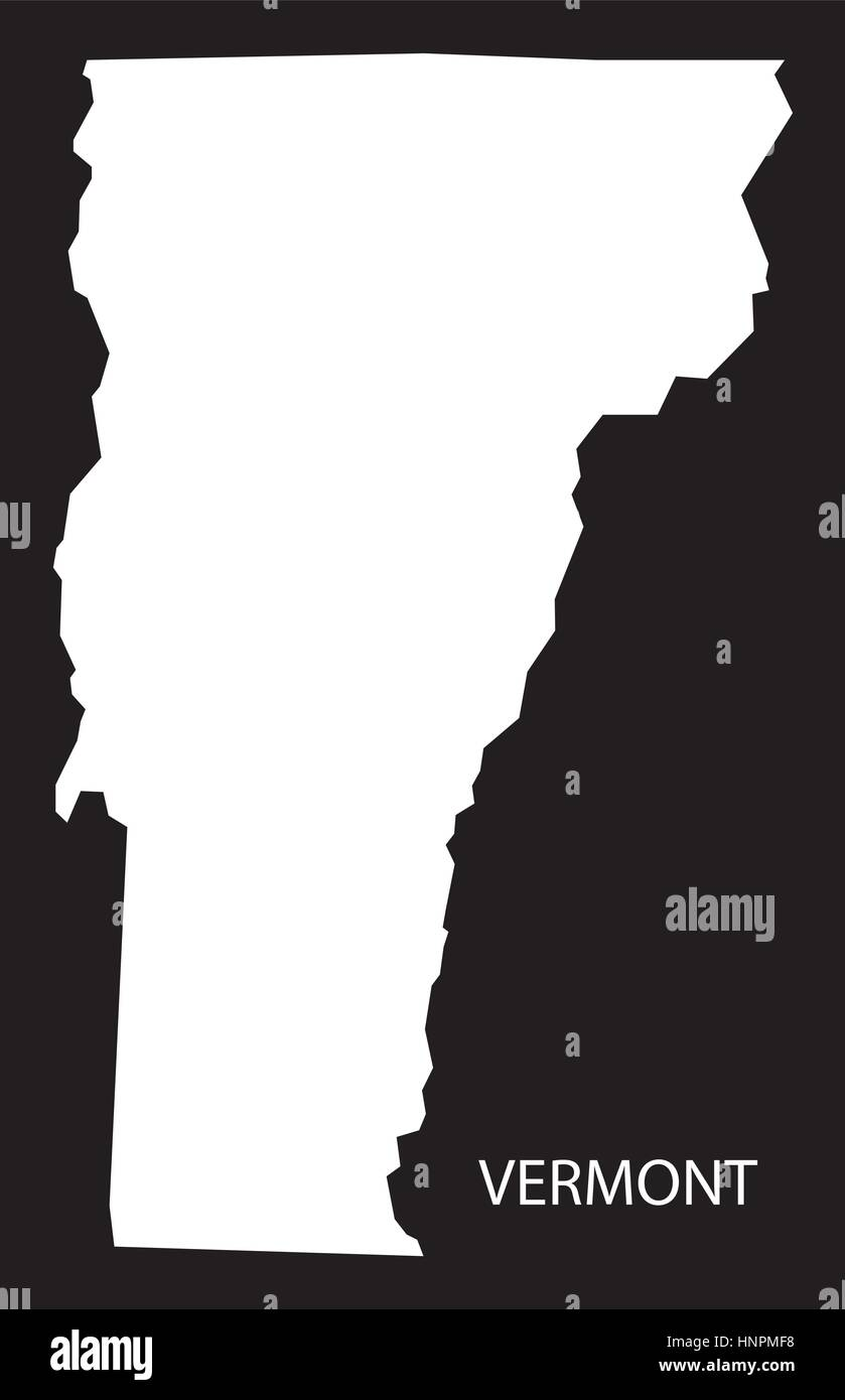 vermont usa map black inverted silhouette