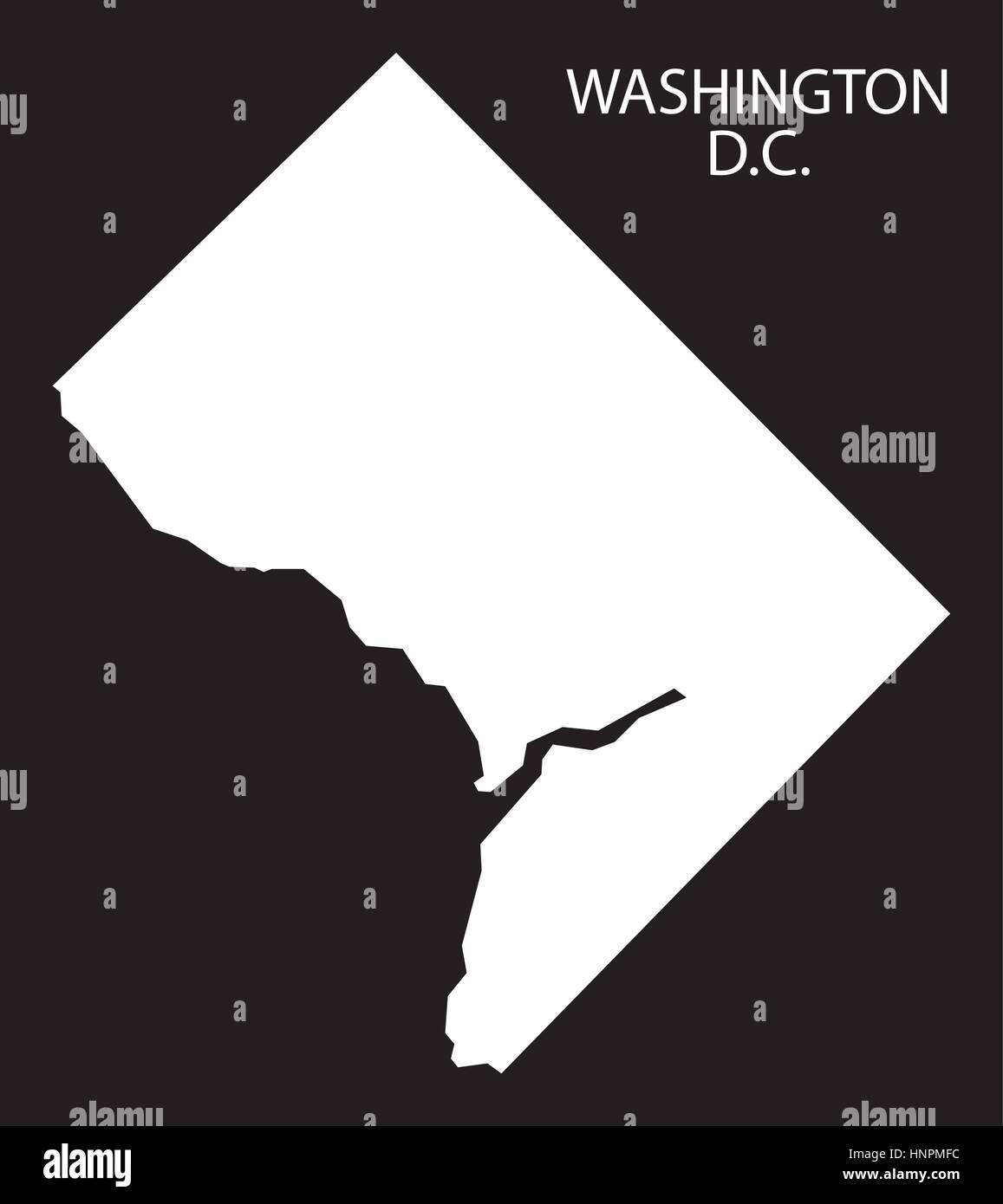 Washington Dc Usa Map Black Inverted Silhouette Stock Vector Art